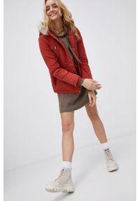 Vero Moda - Kurtka. Okazja: na co dzień. Kolor: czerwony. Materiał: włókno, futro, tkanina, materiał. Wzór: gładki. Styl: casual