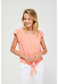 Pomarańczowa koszula MOODO krótka, bez kołnierzyka, z krótkim rękawem