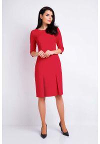 Czerwona sukienka wizytowa Awama wizytowa, ołówkowa