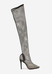 Renee - Czarne Kozaki Thronalphia. Wysokość cholewki: za kolano. Nosek buta: szpiczasty. Kolor: czarny. Materiał: materiał. Szerokość cholewki: normalna. Styl: glamour