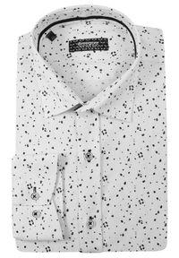 Grzegorz Moda Męska - Biała Bawełniana Koszula z Długim Rękawem -GRZEGORZ MODA MĘSKA- Taliowana, w Szare Kropki. Okazja: do pracy, na spotkanie biznesowe. Kolor: wielokolorowy, szary, biały. Materiał: bawełna, elastan. Długość rękawa: długi rękaw. Długość: długie. Wzór: kropki. Styl: biznesowy, elegancki