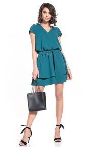 Tessita - Elegancka Sukienka w Szpic - Szmaragdowa. Kolor: zielony. Materiał: poliester, elastan. Styl: elegancki