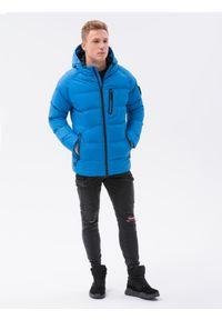 Ombre Clothing - Kurtka męska zimowa C502 - niebieska - XXL. Kolor: niebieski. Materiał: poliester. Sezon: zima