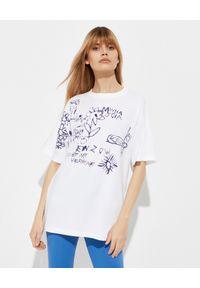 Kenzo - KENZO - Luźny t-shirt z grafiką - EDYCJA LIMITOWANA. Kolor: biały. Materiał: bawełna. Wzór: napisy, haft, kwiaty, aplikacja. Sezon: wiosna