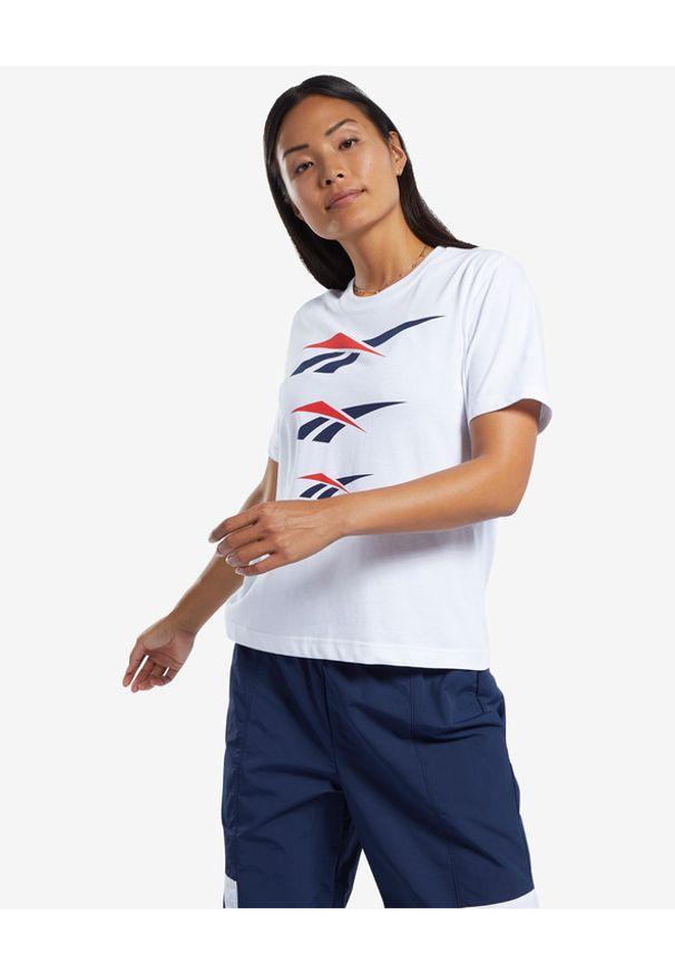 Biały t-shirt Reebok Classic z okrągłym kołnierzem, z nadrukiem