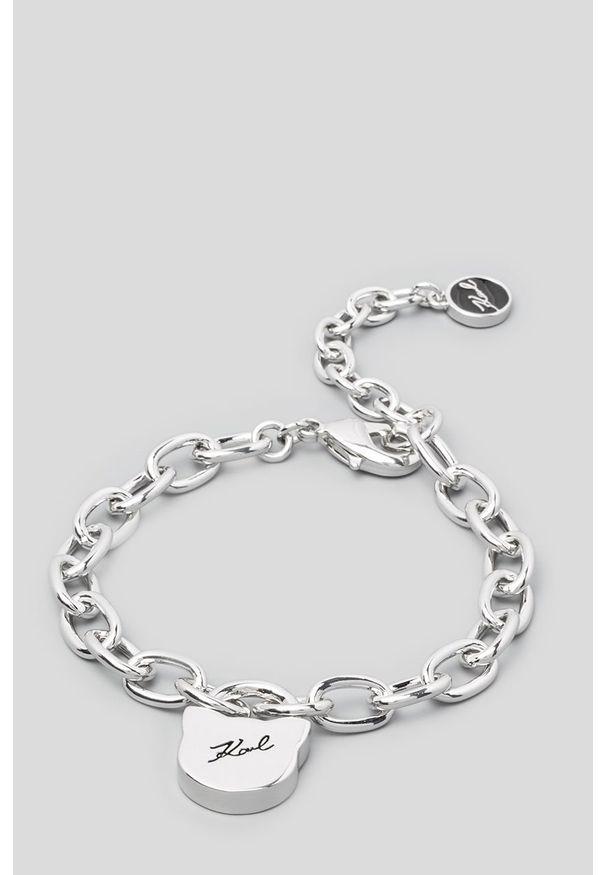 Srebrna bransoletka Karl Lagerfeld z mosiądzu, z kryształem