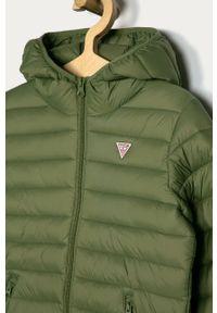 Zielona kurtka Guess Jeans na co dzień, z kapturem, casualowa