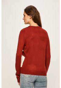 Brązowy sweter only casualowy, na co dzień, z aplikacjami, z okrągłym kołnierzem