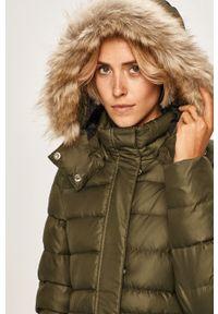 Zielony płaszcz Calvin Klein z kapturem