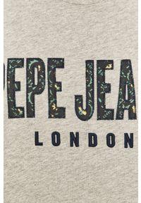 Szary t-shirt Pepe Jeans casualowy, z aplikacjami