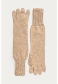 Beżowe rękawiczki Stefanel klasyczne