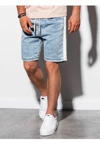 Ombre Clothing - Krótkie spodenki męskie jeansowe W221 - jasny jeans - XXL. Okazja: na co dzień. Materiał: jeans. Długość: krótkie. Wzór: kolorowy. Sezon: lato. Styl: casual, klasyczny