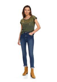 TOP SECRET - Spodnie długie damskie skinny. Okazja: na co dzień. Kolor: niebieski. Materiał: jeans. Długość: długie. Sezon: wiosna. Styl: casual
