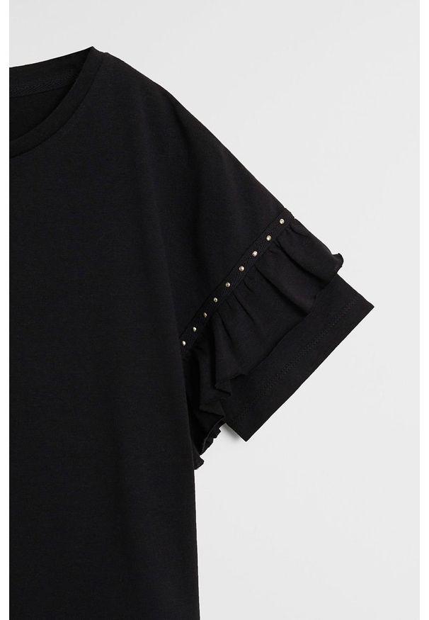 Czarna bluzka z krótkim rękawem Mango Kids casualowa, na co dzień, z okrągłym kołnierzem