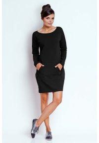 Nommo - Czarna Prosta Dresowa Sukienka z Kieszenią Kangurką. Kolor: czarny. Materiał: dresówka. Typ sukienki: proste
