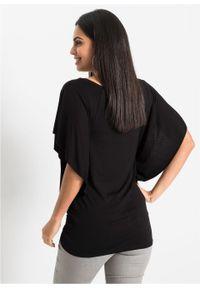 Shirt z rękawami kimonowymi bonprix czarny z nadrukiem. Kolor: czarny. Wzór: nadruk