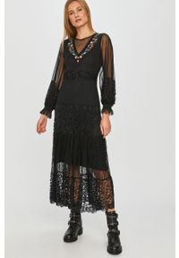 Czarna sukienka Desigual prosta, w koronkowe wzory