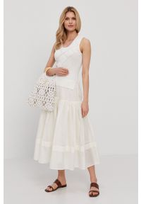 TwinSet - Twinset - Sukienka. Kolor: beżowy. Typ sukienki: rozkloszowane