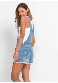 Niebieskie jeansy bonprix krótkie, z aplikacjami
