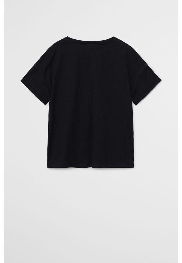 Czarna bluzka z krótkim rękawem Mango Kids na co dzień, z nadrukiem, z okrągłym kołnierzem