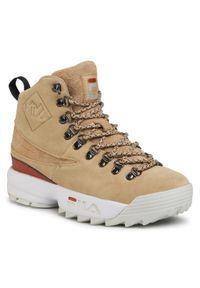 Beżowe buty trekkingowe Fila z cholewką