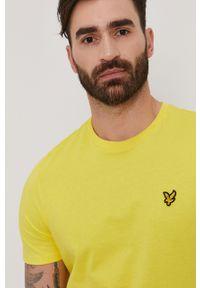 Żółty t-shirt Lyle & Scott gładki, casualowy, na co dzień