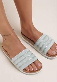 Renee - Miętowe Klapki Alethanthei. Nosek buta: okrągły. Kolor: miętowy. Materiał: jeans. Wzór: aplikacja