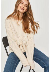 Kremowy sweter Answear Lab wakacyjny, długi, z długim rękawem