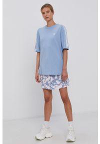 adidas Originals - T-shirt. Kolor: niebieski. Materiał: bawełna, dzianina. Wzór: gładki