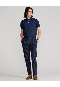 Ralph Lauren - RALPH LAUREN - Granatowa koszulka Slim Fit Stretch Mesh. Typ kołnierza: polo. Kolor: niebieski. Materiał: mesh. Wzór: haft. Styl: klasyczny