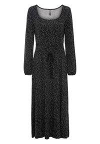 Sukienka z dżerseju bonprix czarno-biały w kropki. Kolor: czarny. Materiał: jersey. Długość rękawa: długi rękaw. Wzór: kropki