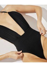PRAIA BEACHWEAR - Czarny jednoczęściowy kostium kąpielowy Runway. Stan: podwyższony. Kolor: czarny. Materiał: tkanina, jeans. Wzór: aplikacja