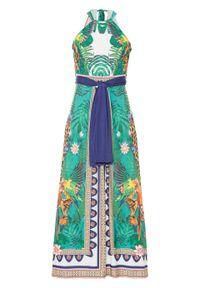 Sukienka z dekoltem halter bonprix zielono-biało-niebieski w roślinny wzór. Typ kołnierza: dekolt halter. Kolor: zielony. Styl: elegancki