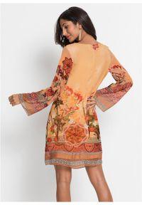 Sukienka szyfonowa bonprix pomarańczowy w kwiaty. Kolor: pomarańczowy. Materiał: szyfon. Wzór: kwiaty