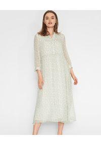 HEMISPHERE - Zielona sukienka we wzory. Kolor: zielony. Materiał: wiskoza, materiał. Wzór: aplikacja. Sezon: lato, wiosna. Długość: midi