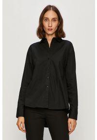 Czarna koszula Armani Exchange na co dzień, długa, z klasycznym kołnierzykiem, klasyczna