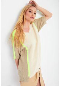 Sweter TwinSet krótki, z krótkim rękawem, w ażurowe wzory