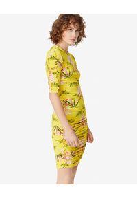 Żółta sukienka mini Kenzo z aplikacjami