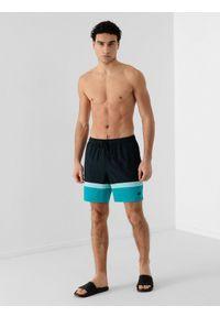 4f - Spodenki plażowe boardshorty męskie. Okazja: na plażę. Kolor: niebieski. Materiał: tkanina, włókno. Sezon: lato
