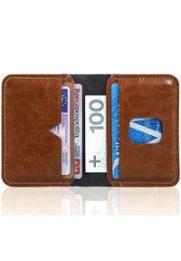 Cienki skórzany portfel męski Solier SW11 brązowy. Kolor: brązowy. Materiał: skóra