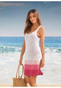 Sukienka plażowa bonprix biało-różowy. Okazja: na plażę. Kolor: biały. Długość rękawa: na ramiączkach