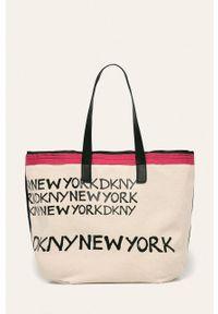 Wielokolorowa shopperka DKNY duża, na ramię, z nadrukiem