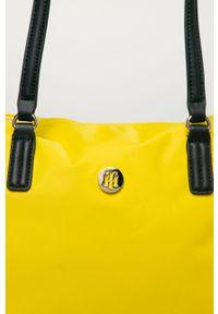 Żółta shopperka TOMMY HILFIGER gładkie, na ramię, duża