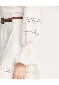 Ralph Lauren - RALPH LAUREN - Biała sukienka z koronką. Typ kołnierza: polo. Kolor: biały. Materiał: koronka. Długość rękawa: długi rękaw. Wzór: koronka. Długość: mini #5