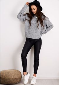 Szary sweter LIGARI w paski