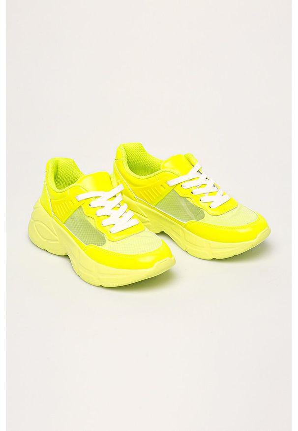 Żółte buty sportowe Call It Spring z cholewką, z okrągłym noskiem, na sznurówki