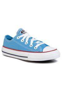 Niebieskie półbuty Converse casualowe, z cholewką, na co dzień
