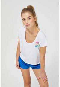 MOODO - Gładki t-shirt z nadrukiem. Materiał: bawełna, poliester. Długość rękawa: bez rękawów. Wzór: gładki, nadruk