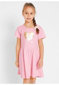 Sukienka dziewczęca z dżerseju, krótki rękaw (2 szt.) bonprix pudrowy jasnoróżowy + jasnoszary melanż. Kolor: różowy. Materiał: jersey. Długość rękawa: krótki rękaw. Wzór: melanż #3