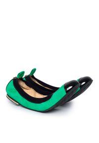 POLETTO - Zamszowe baleriny. Kolor: zielony. Materiał: zamsz. Styl: elegancki